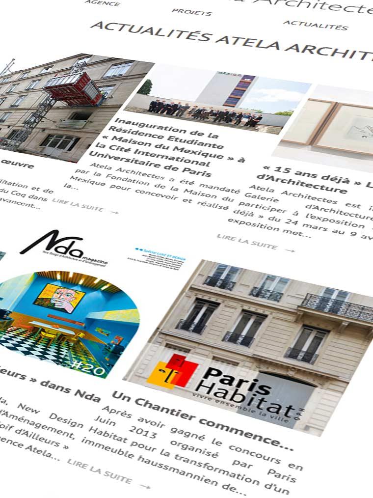 site-web-actualité-ATELA-architectes Brief Créatif agence digitale Paris