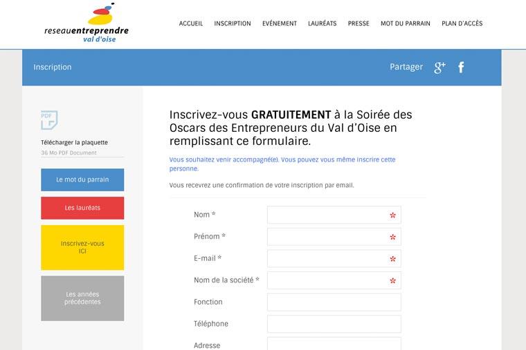 site web événementiel conception-site-web-95-réseau-entreprendre-val-d'oise